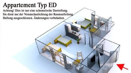 Grundriss des Reiterhof Appartement für 2 - 3 Personen im Reiterdorf Lüneburger Heide